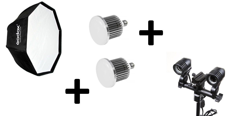 Kit 3x1: Softbox 120CM + 2 Lampadas 65w + Soquete duplo