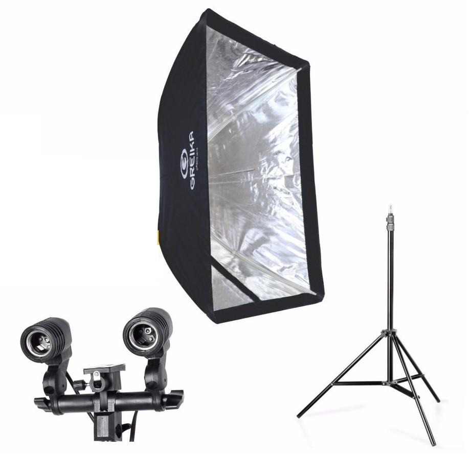 Kit 3 Em 1 Para Estudio Fotografico E Youtuber Softbox 60x90 Soquete DuploTipo E27 E Tripé 2 Metros
