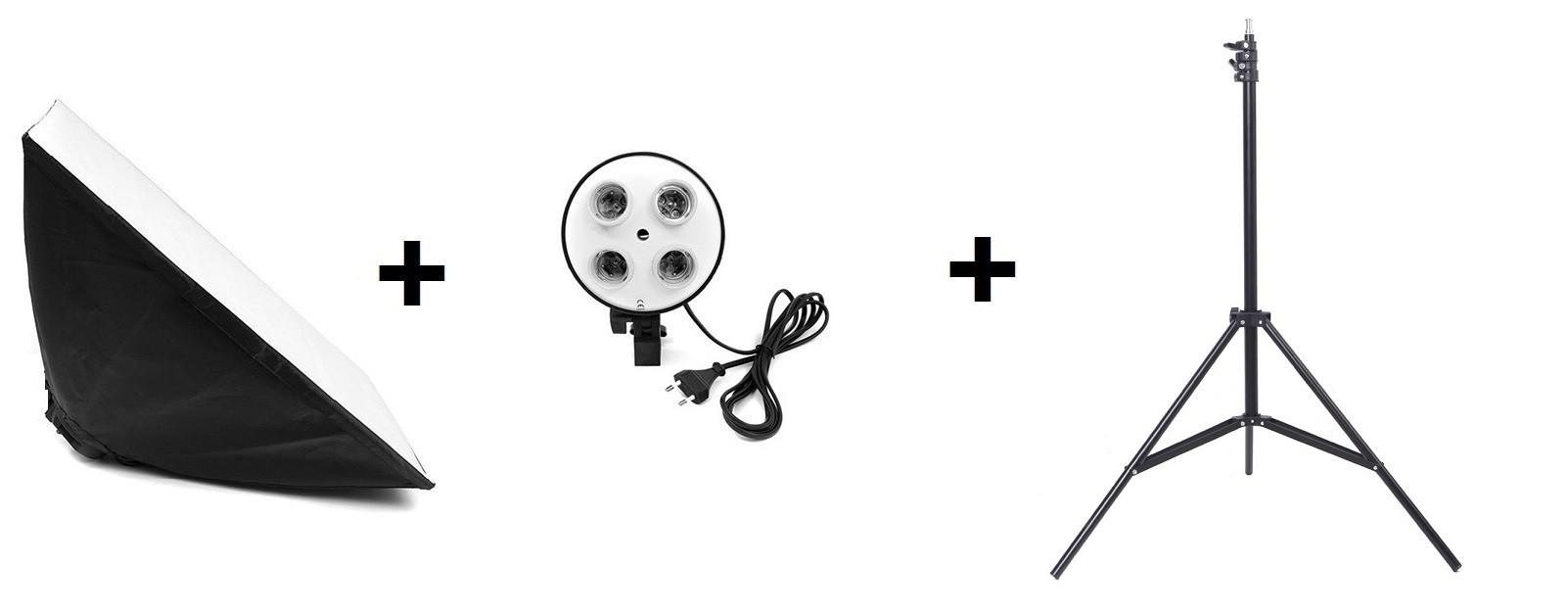 Kit 3x1: Soquete quadruplo + Softbox 50x70cm + Tripé 2M
