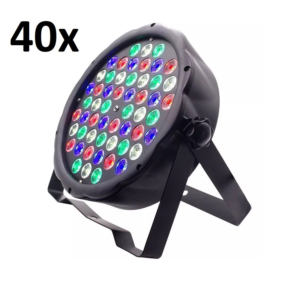 Kit 40x Canhão de Luz Led Par 64 RBGW 54 Leds 3w Strobo Dmx Digital