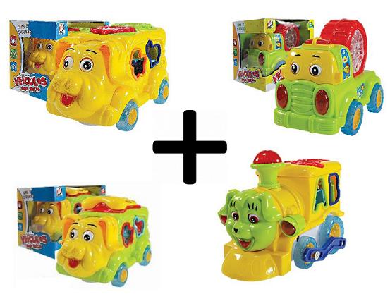 Kit 4 Carrinhos Musicais Brinquedo Infantil Com Peças e Música - Lotus