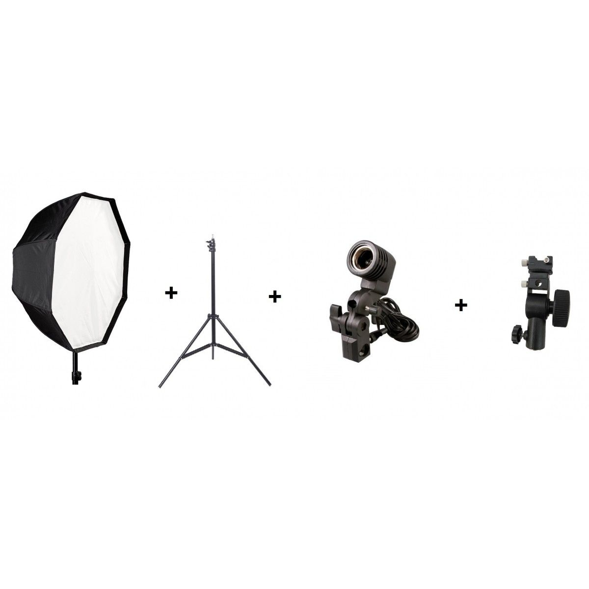Kit 4 Em 1 Softbox 120cm, Soquete Simples E27, Adaptador Para SpeedLight E Tripé 2 Metros - 120cm + soquete simples + adaptador seedlight + st803