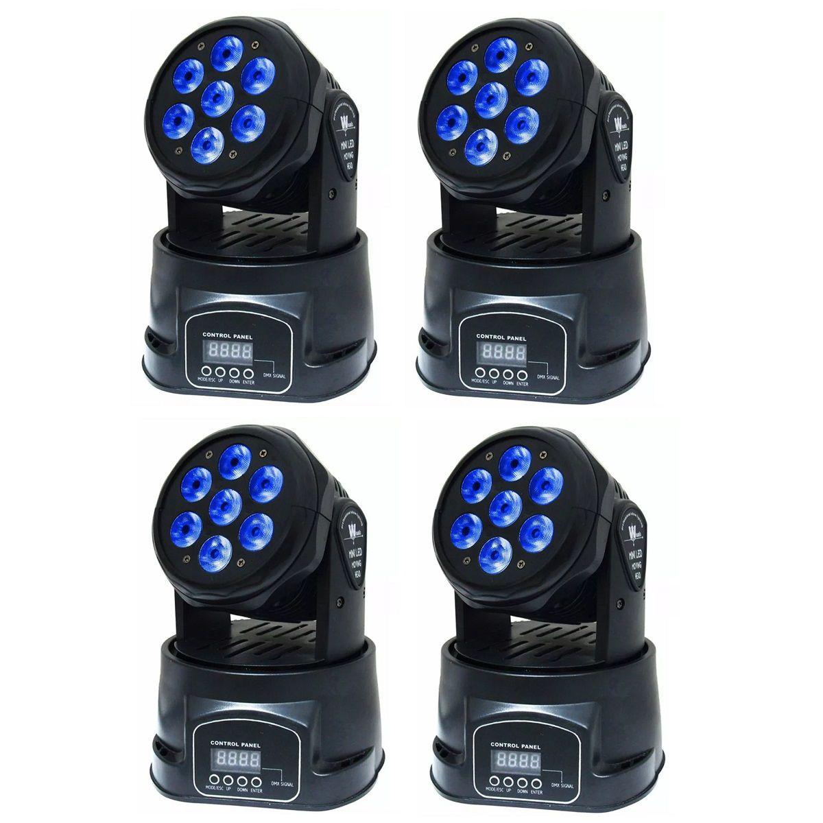 Kit 4 Mini Moving 7 Leds Iluminação Rgbw DMX Painel Digital Strobo