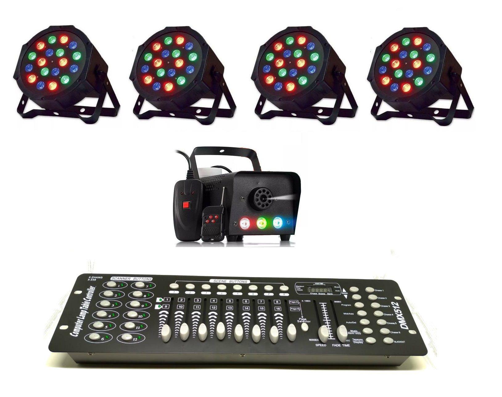 Kit 4x Canhão Luz 18 LEDs + Maquina Fumaça 600W 3 LEDs + Mesa DMX - 18LEDSLIM+XH-600W+HL-001