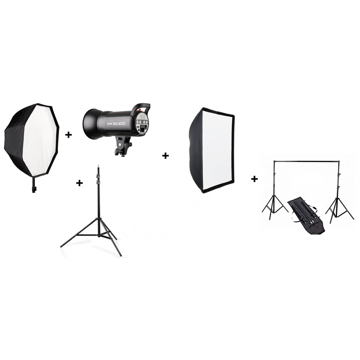 KIT 5X1: BJ-14 + Octabox 120cm + Softbox 60x90 + Tripé wt806 + Sk400 110