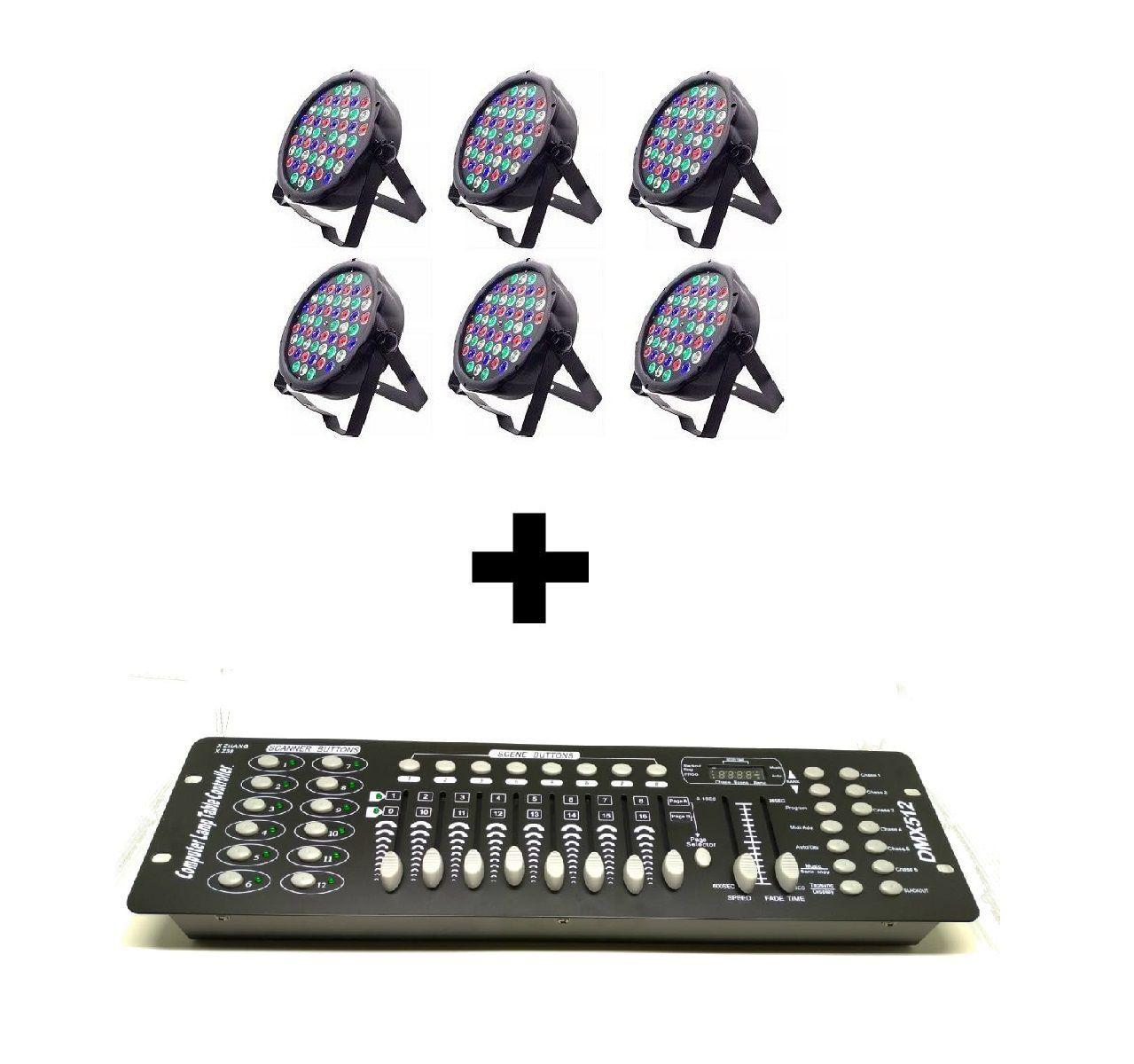Kit 6x Luz Led Par 64 RBGW 54 Leds Strobo Painel Digital + Mesa DMX
