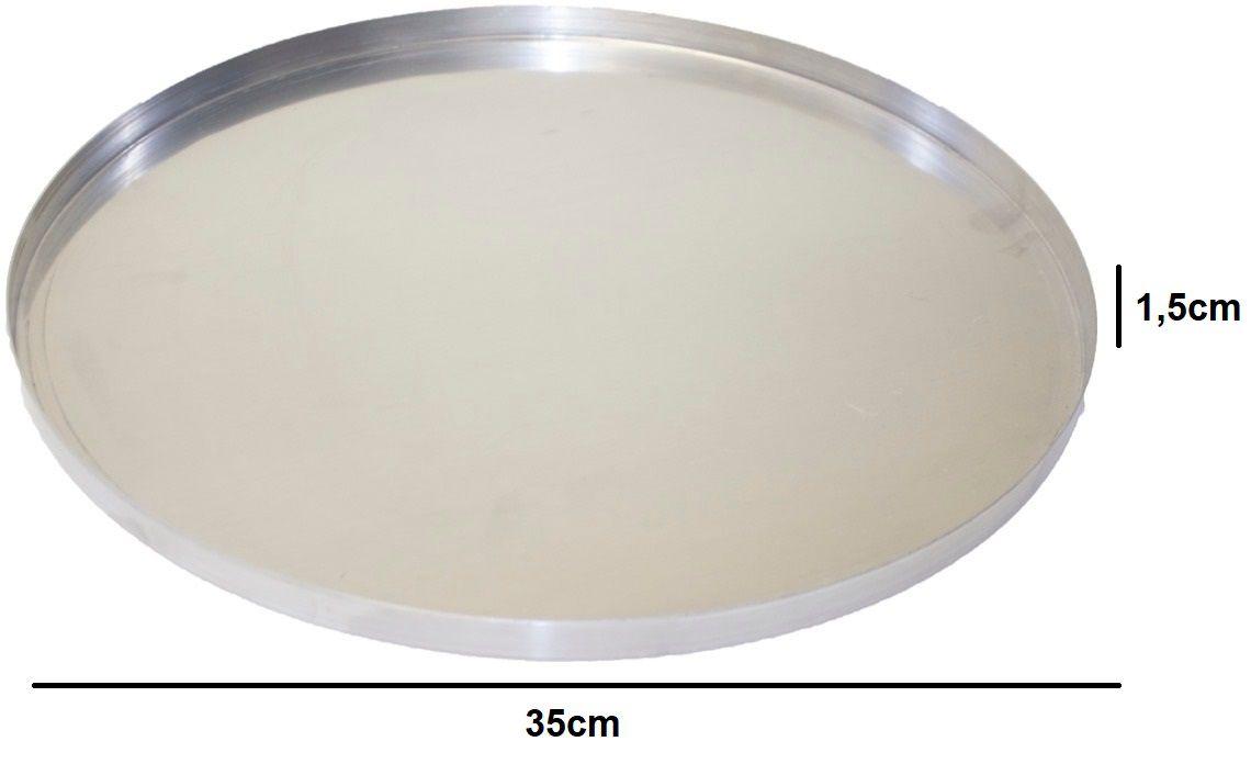 Kit Para Pizza Abafador Alumínio Grande 40cm + Forma De Alumínio 35cm + Raspadeira Inox Curvo 10cm