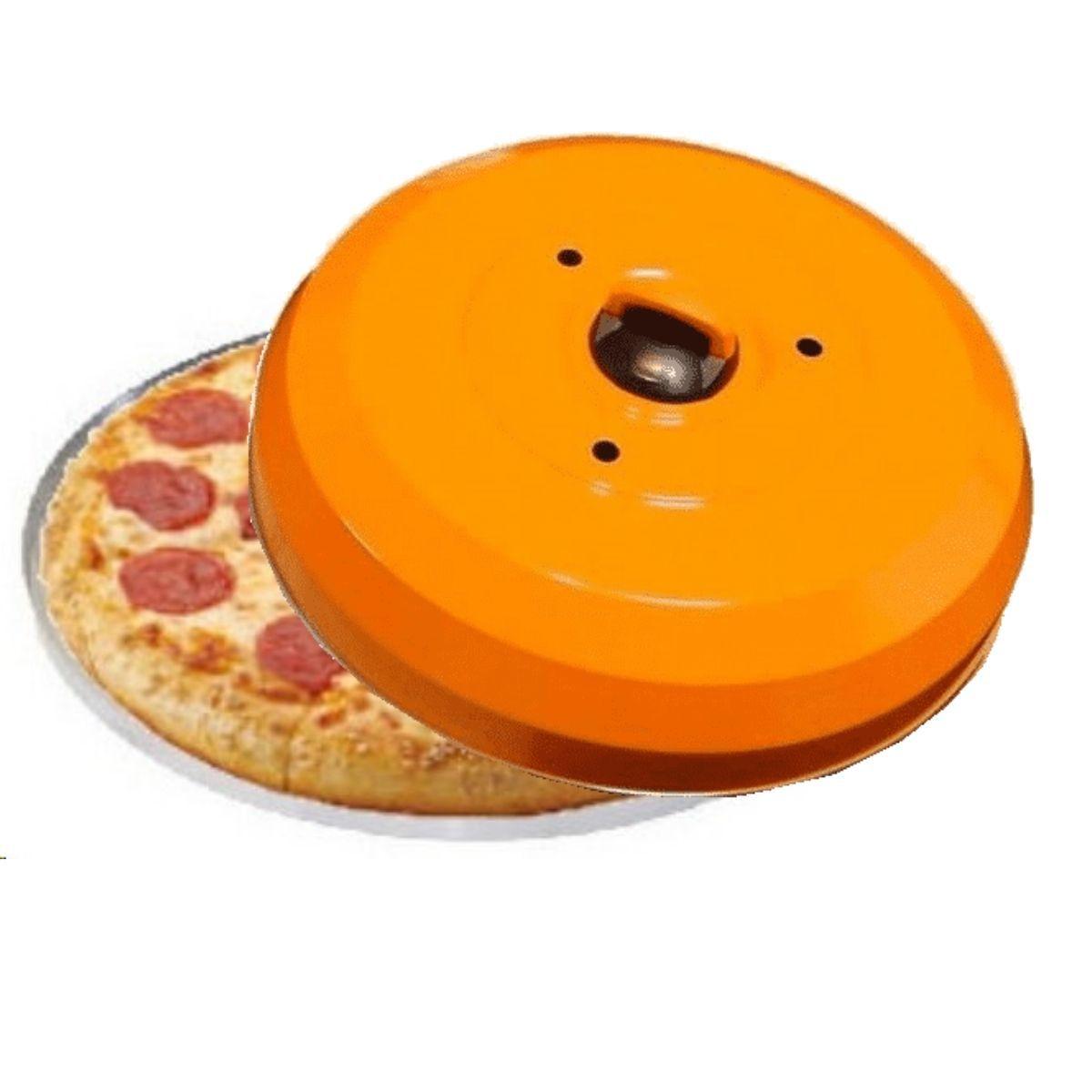 Kit Abafador De Pizza Profissional Laranja Com Forma Para Pizza 35cm