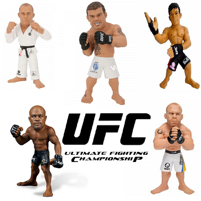 Kit Bonecos UFC Machida, Wanderlei Silva, Belfort, Anderson Silva Sem camisa e Royce