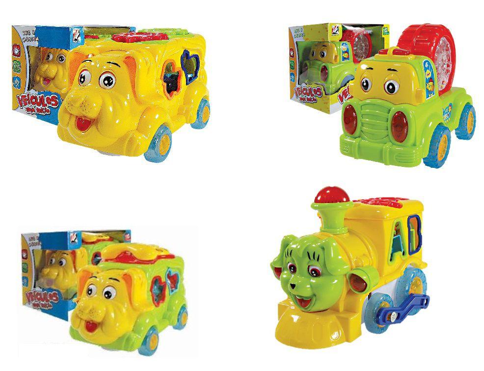 Kit 4 Carrinhos Musicais Lotus Brinquedo Infantil Com Peças e Música