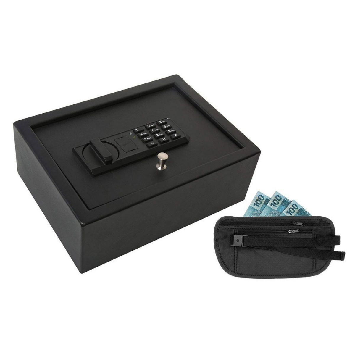 Kit Cofre Digital De Gaveta Com Senha Blindado Porta Dólar Primícias Ou Arma De Fogo 2 Chaves De Emergência Segurança - Ivation IVA01 - FULLFILMENT JULINETSHOP