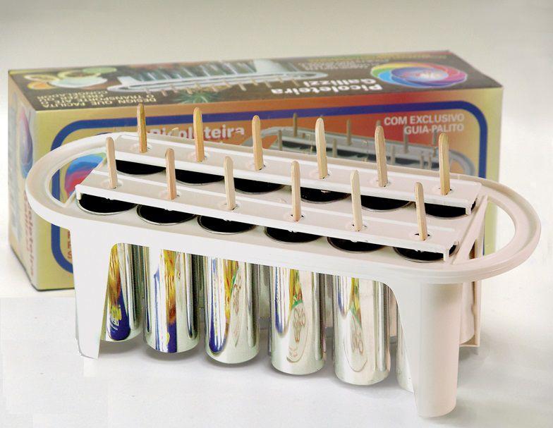 Kit com 3 Forma de Picolé Redondo em Metal Picoleteira Profissional 12 PICOLES - 56