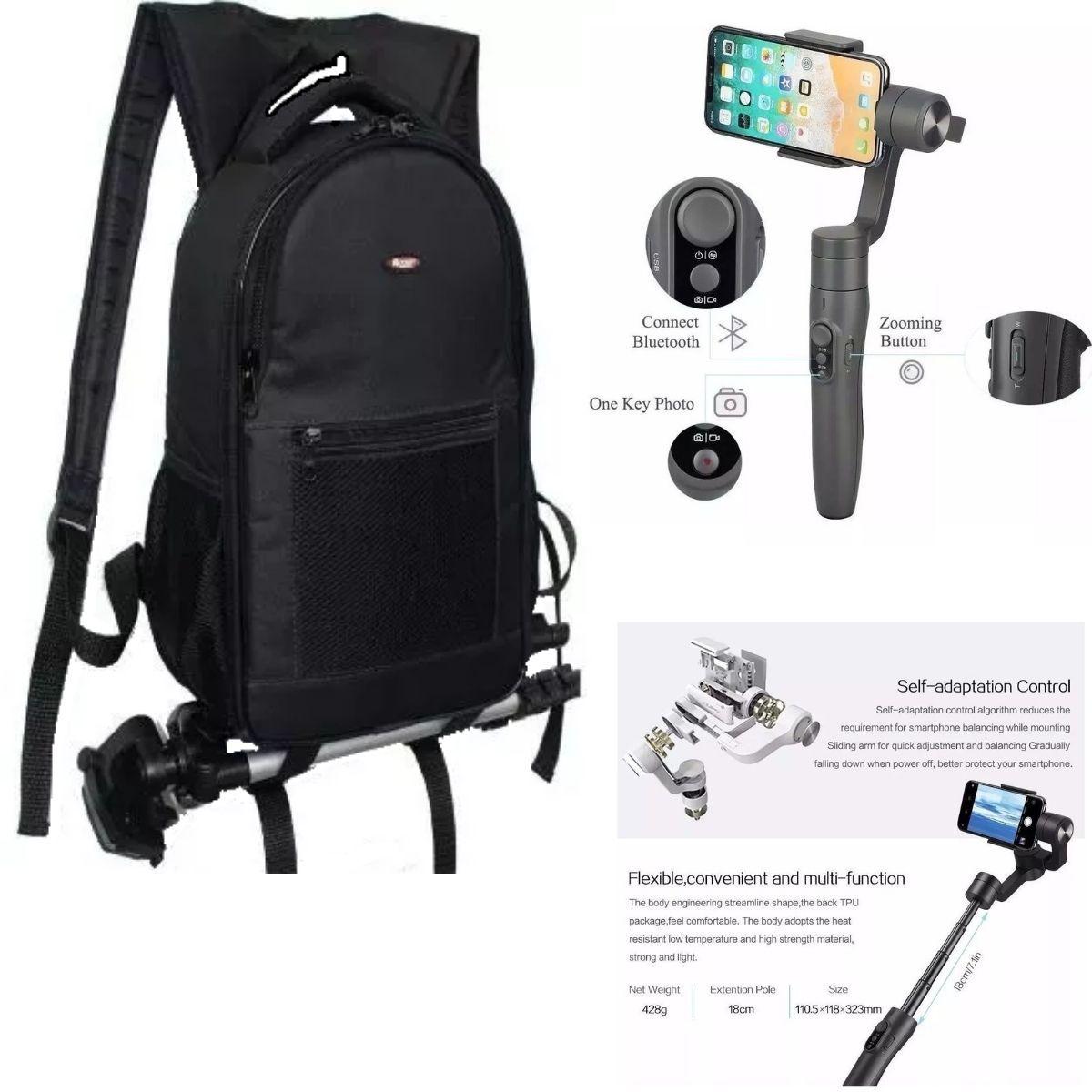 Kit Com Mochila Profissional Para Câmeras DSLR Fotográficas E Estabilizador De Câmeras Gimbal Celulares E Câmeras