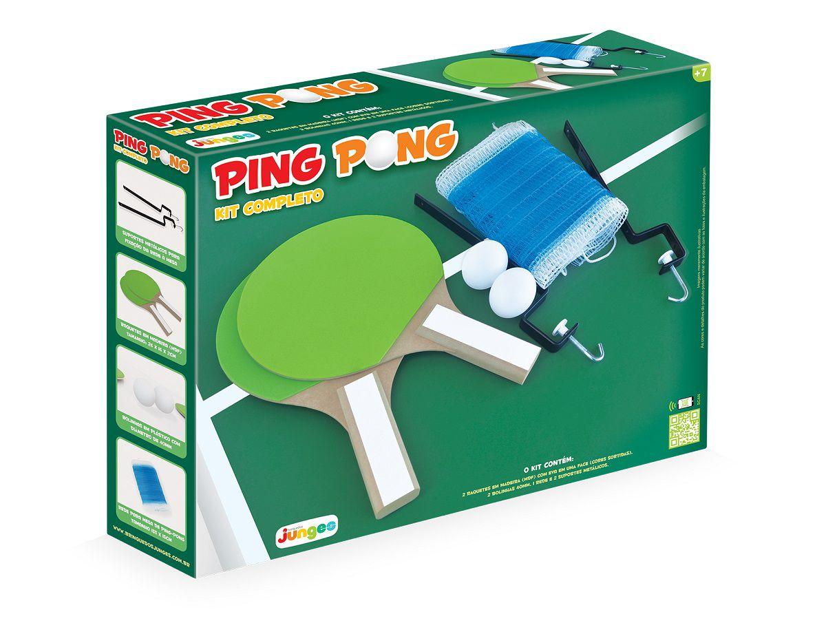 Kit Completo Ping Pong Raquete Bolinha Rede E Suporte Em MDF - 225