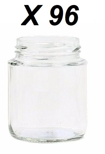 Kit de 4 Caixas de Pote de Vidro 240ml Com Tampa Dourada - Total 96 Unidades