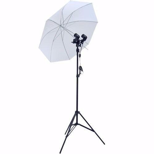 Kit De Iluminação Contínua Para Estúdio Com Tripé Soquete e Sombrinha - ST803 + Sombrinha 80 cm + Soquete Duplo