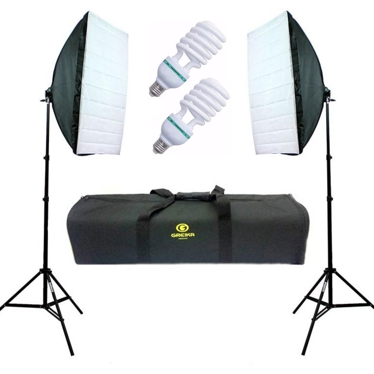 Kit De Iluminação Para Estúdio Fotográfico 2 Softbox 50x70 - Ágata 2 220v