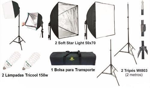 Kit De Iluminação Para Estúdio Fotográfico 2 Softbox 50x70 - Ágata 2 - 220v