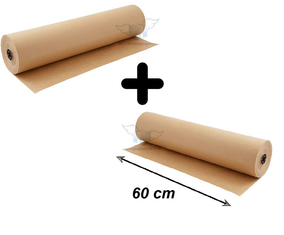 Kit Duas Bobinas Papel Kraft 60 cm x 150 Metros - 2 x 60x150M