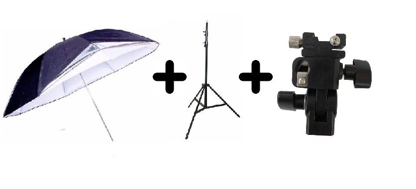Kit Para Estúdio Fotográfico Sombrinha Reversível + Adaptador