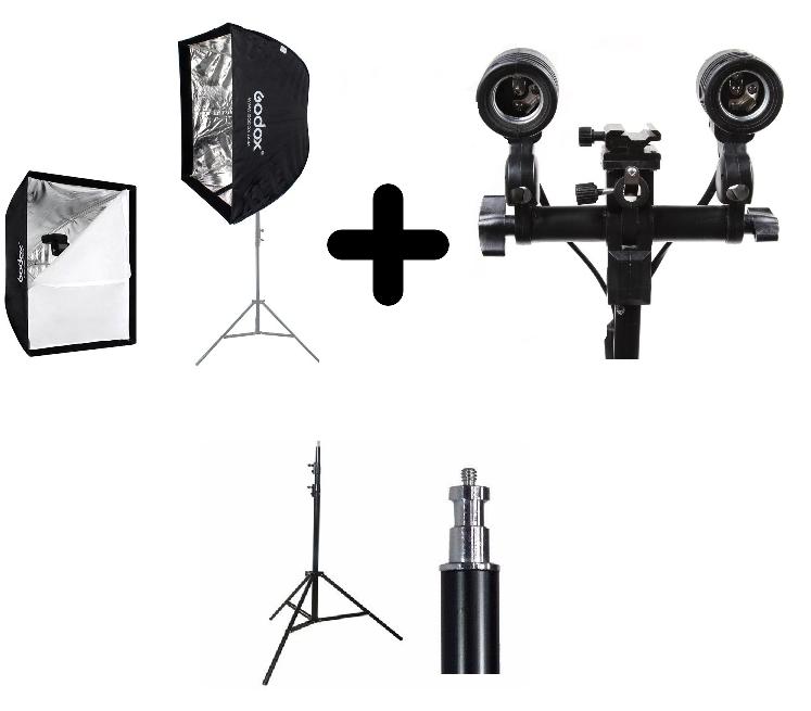 Kit Para Estúdio Fotográfico Softbox Sombrinha 60x60 + Tripé 2M St-803 + Soquete Duplo