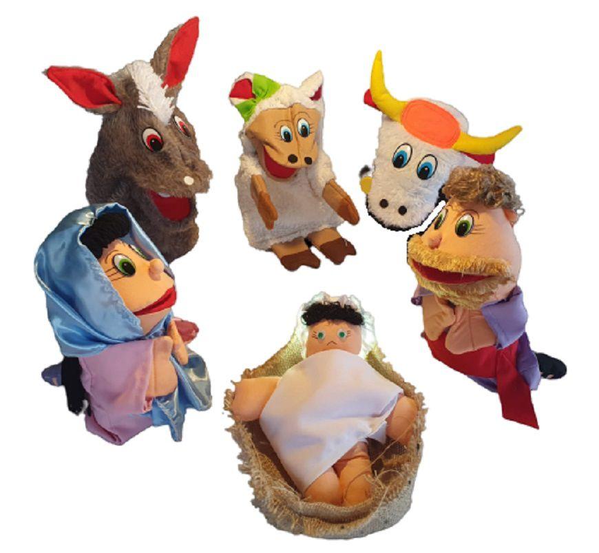 Kit Fantoches Bíblicos Nascimento De Jesus 6 Personagens