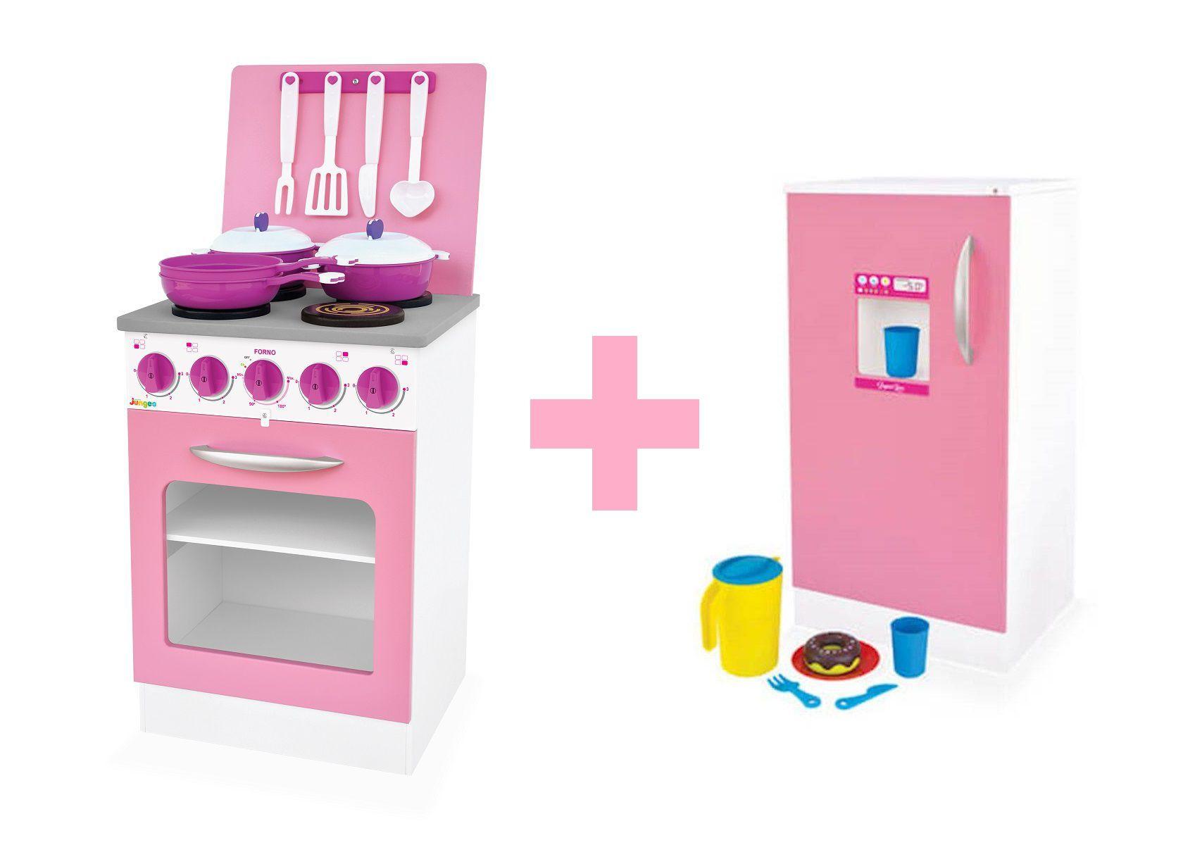 Kit Fogão e Geladeira de Brinquedo Rosa MDF Junges