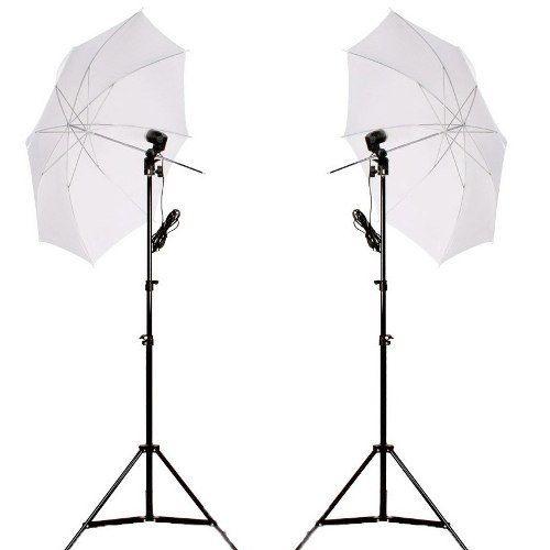 Kit Iluminação Duplo NewBorn Para Estúdio E Youtuber - 2 Sombrinha Branca + 2 Soquete E27 + 2 ST803