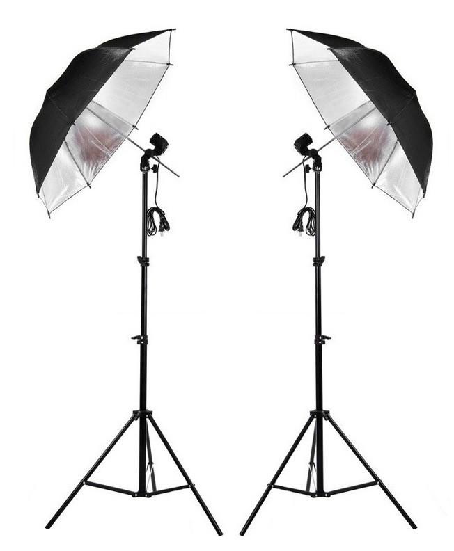 Kit Iluminação NewBorn Para Estúdio E Youtuber Sombrinha Preta/Prata