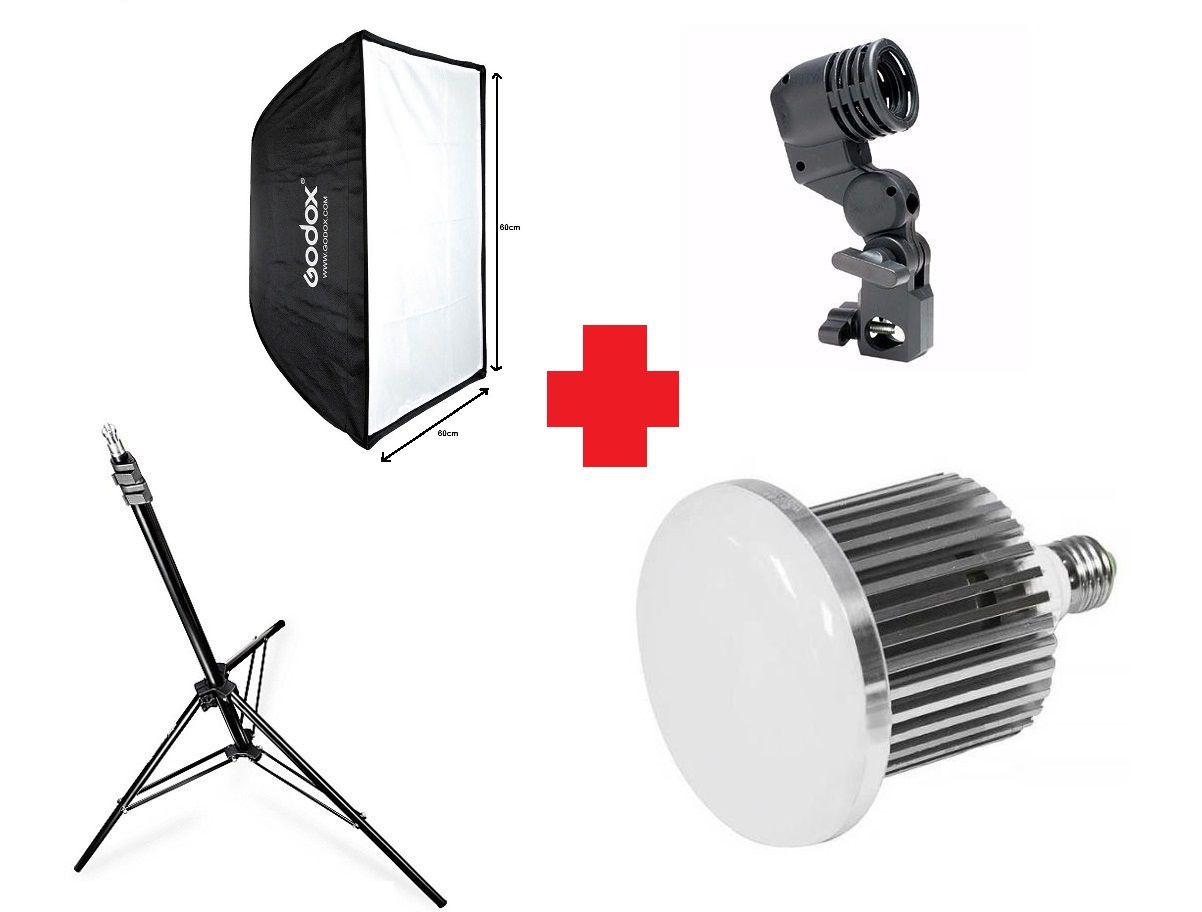 Kit Iluminação Softbox 60cm + Tripé + Soquete + Lâmpada 105w - 60x60 + St-803 + E27 + 105W