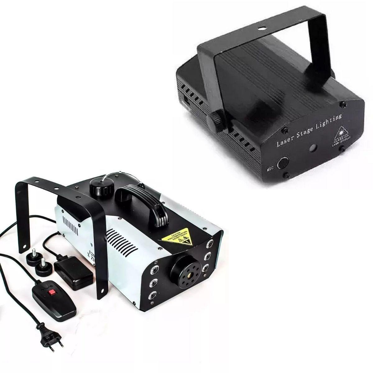 Kit Luz E Festa Profissional Com 2 Mini Laser Holográfico + 2 Maquina De Fumaça 1200W