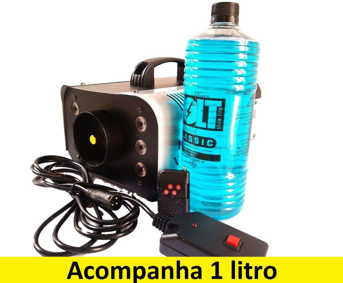 Kit Máquina de Fumaça 1200W 6 Leds RGB + Líquido 1L - XH-1200W+MY1012