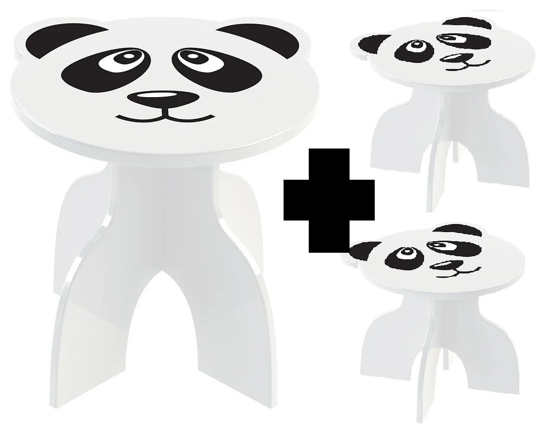 Kit Mesa + 2 Banquinhos Infantil Panda
