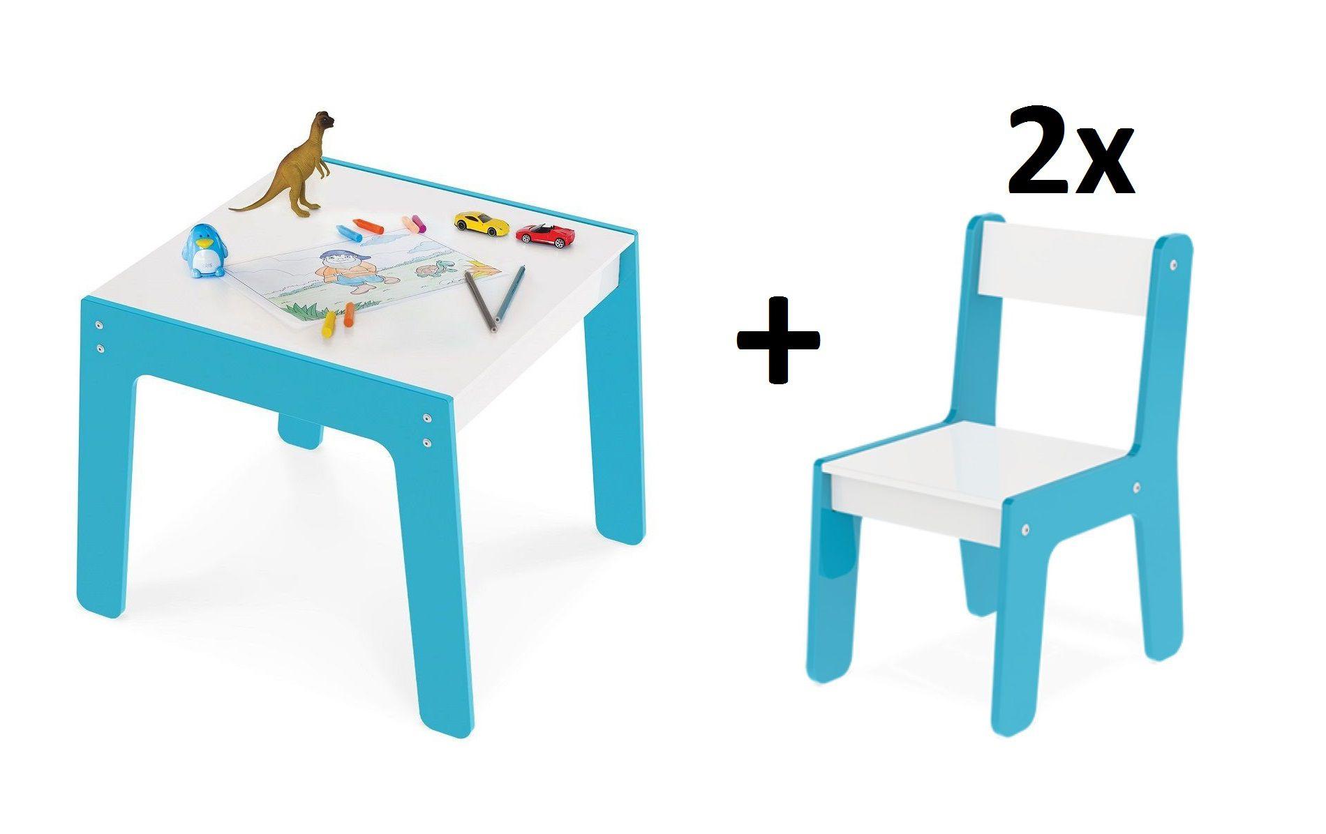 Kit Mesa Com 2 Cadeiras Infantil Azul Em MDF Junges