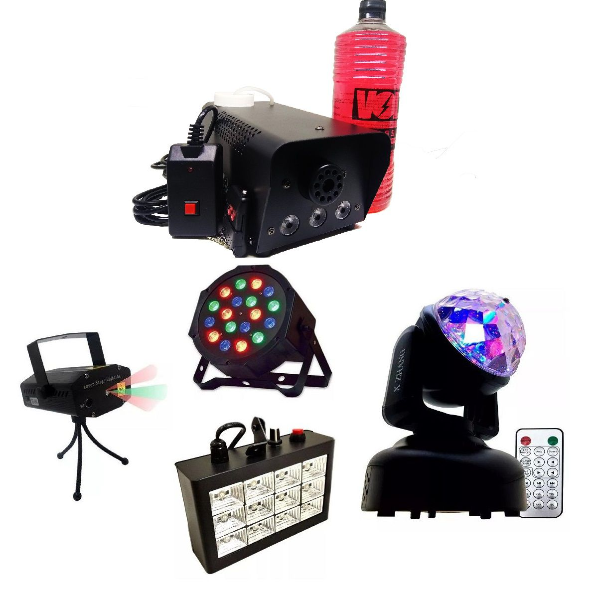 Kit Mini Moving Head RGB Bola Maluca + Strobo 12 LEDs Branco Rítmico + Mini Laser Projetor Holográfico + Canhão Luz 18 LEDs + Maquina Fumaça 600W + Líquido - HL-080+12LEDBR+SD-08+18LEDSLIM+XH-600W