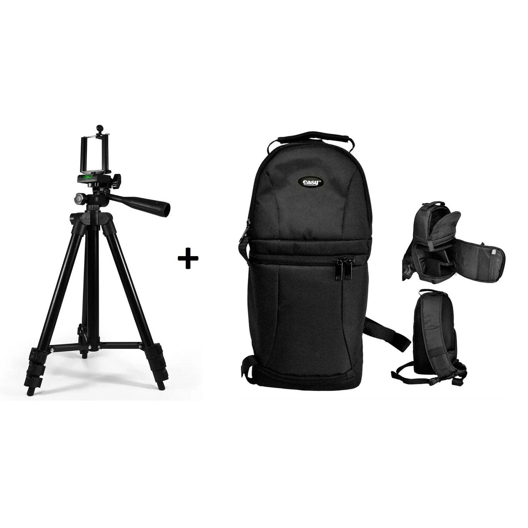 Kit Mochila Compacta Para Câmera + Tripé Telescópico 1,2m - EC-8825FE+SL-2111H