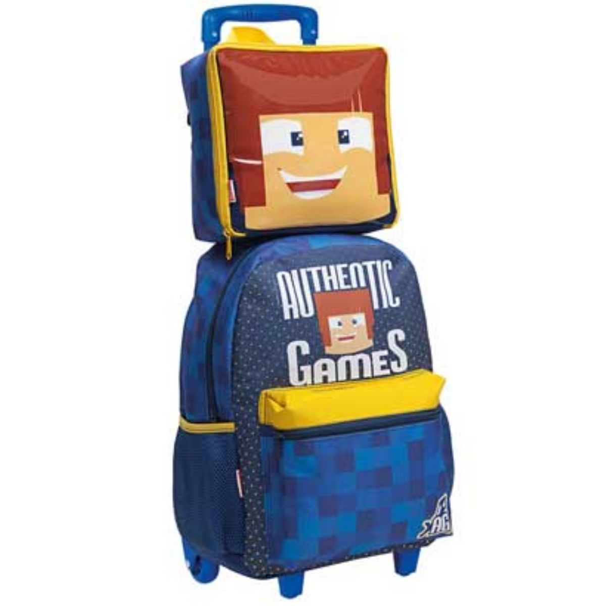 Kit Mochila Infantil Escolar Com Rodinha Authentic Games Sestini