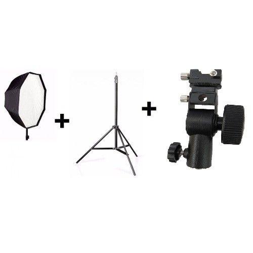 Kit Para Estudio Fotografico Intermediario 3 Em 1 - Octabox 120cm + tripé st-803 + Suporte SpeedLight D