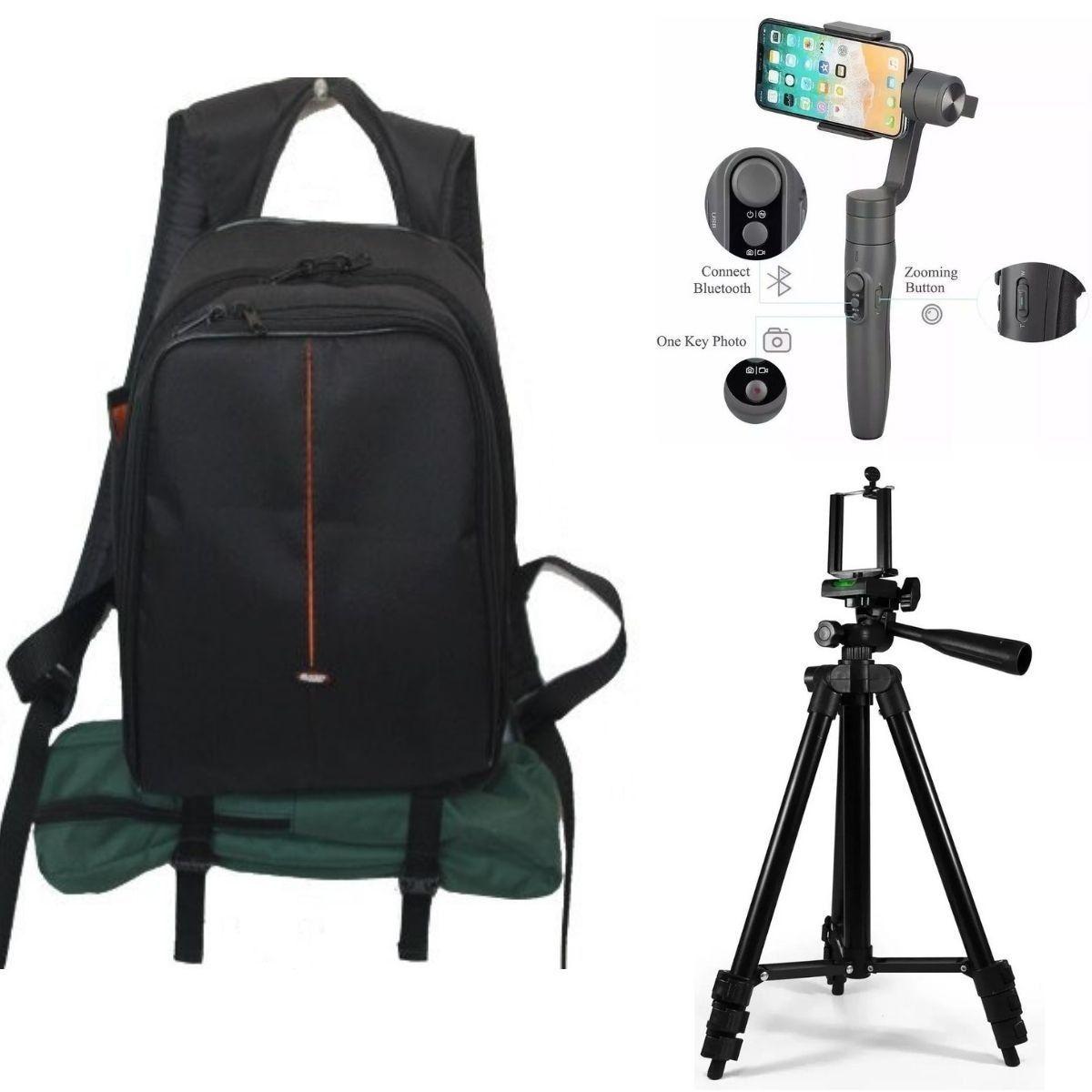 Kit Para Fotografia Com Mochila Para Câmeras Profissional + Estabilizador Para Câmeras E Celulares Com Tripé 1,2m Para Celular
