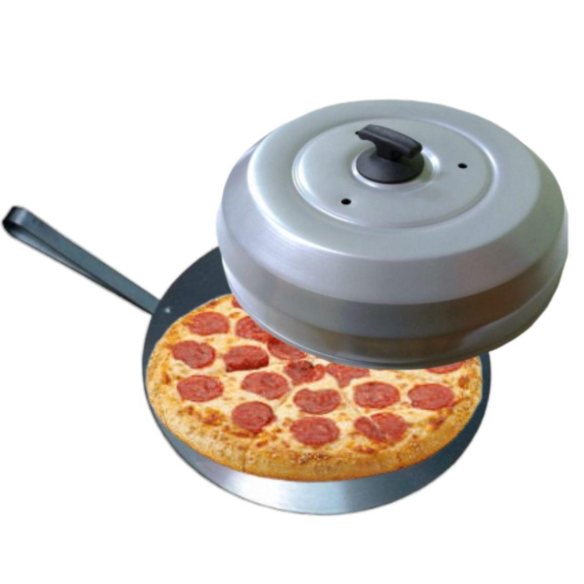 Kit Para Pizzaria Com Abafador De Pizza Cinza Em Alumínio + Pá Para Pizza Em Alumínio Cabo Curto - Gallizzi