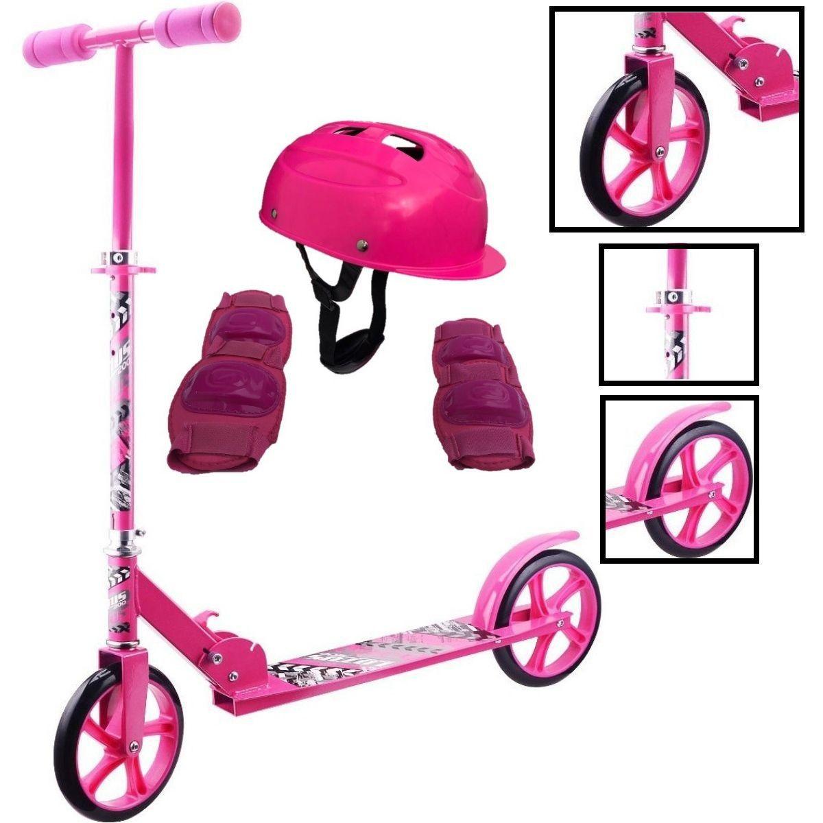 Kit Patinete Adulto E Infantil Rosa Com Equipamentos De Proteção Feminino Para Patinete E Skate - CP02 + YTA-663RO-LX