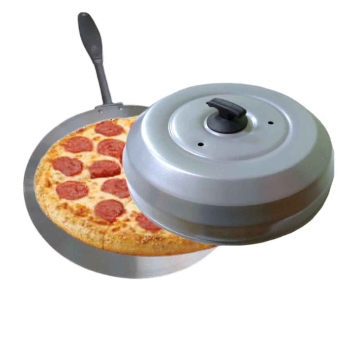 Kit Pizzaria Abafador De Pizza Cinza Grande 40cm Com Pá Para Pizza Cabo longo Reforçado 27cm - Gallizzi