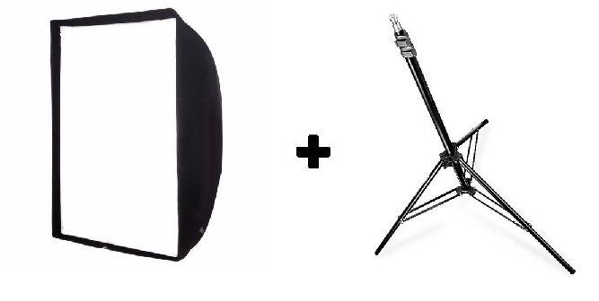 Kit Softbox 90x90cm Universal Para Flash Tocha e Luz Continua + Tripé Somita Para Iluminação Flash Estúdio Iluminador Led 2mts - ST-803