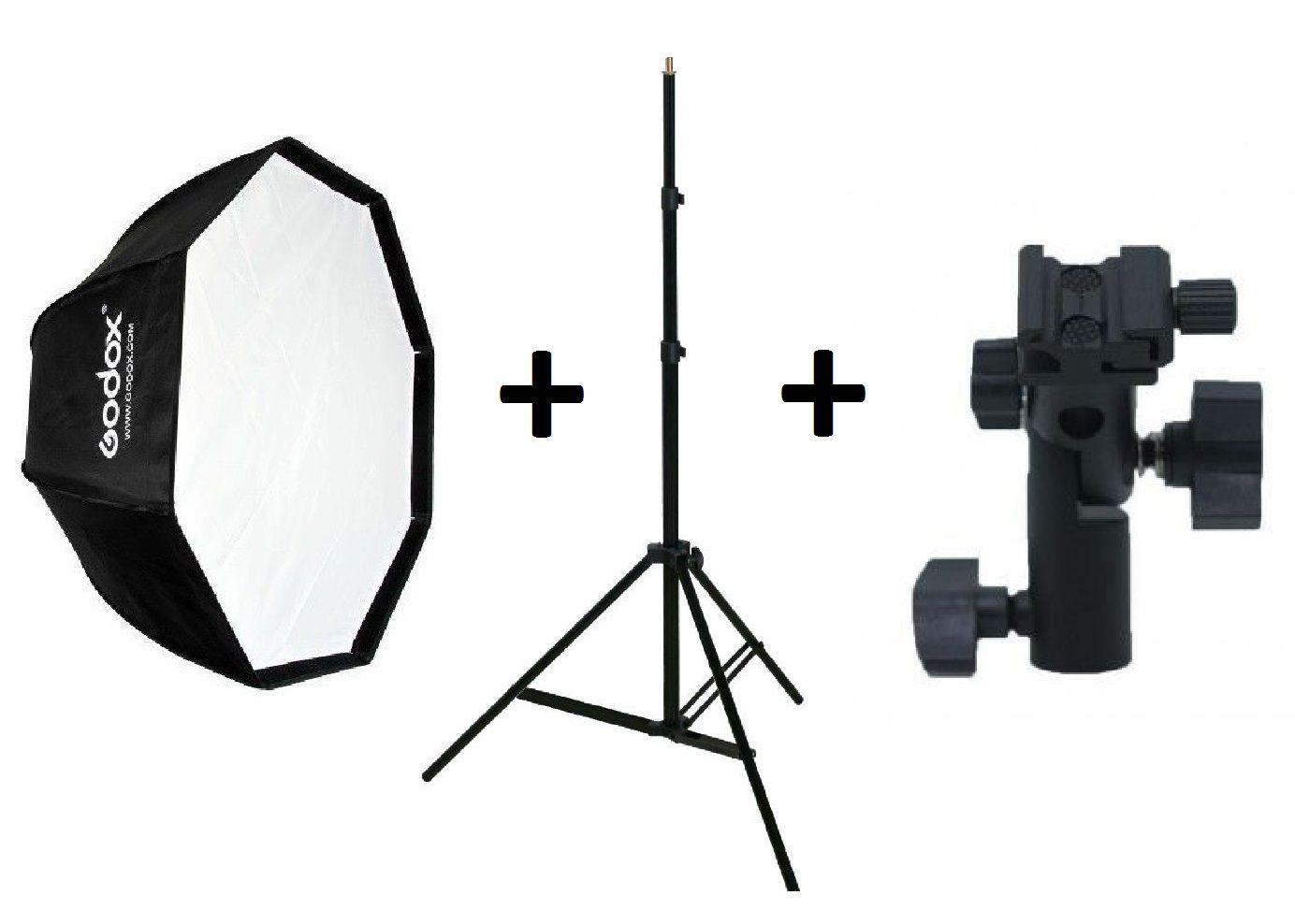 Kit Softbox  Octabox 95cm + Tripé Para Iluminação + Suporte Speedlight - 95CM+ST-803+YA421
