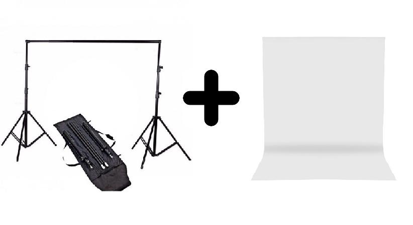 Kit Suporte Fundo Infinito YS300 + Tecido Musilin Banco para Estúdio Fotográfico
