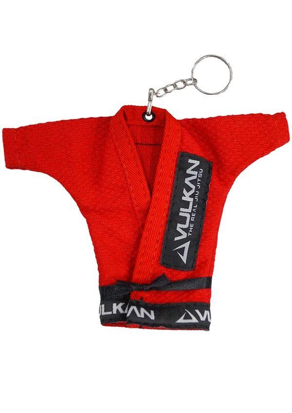 Chaveiro Kimono Jiu Jitsu Vermelho Vulkan + Adesivo Vulkan