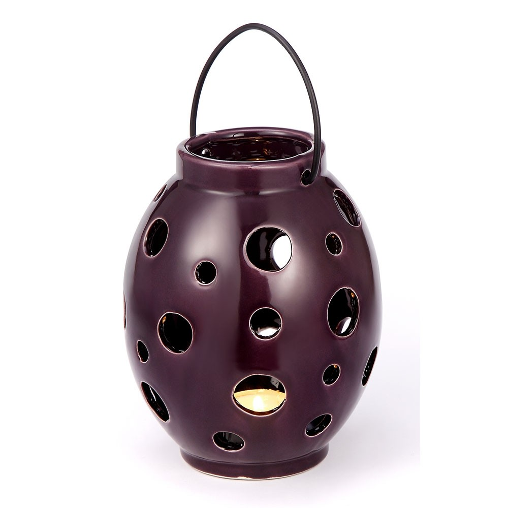 Lanterna Bola Roxa em Cerâmica 13X16,5 CM Bencafil - 60109