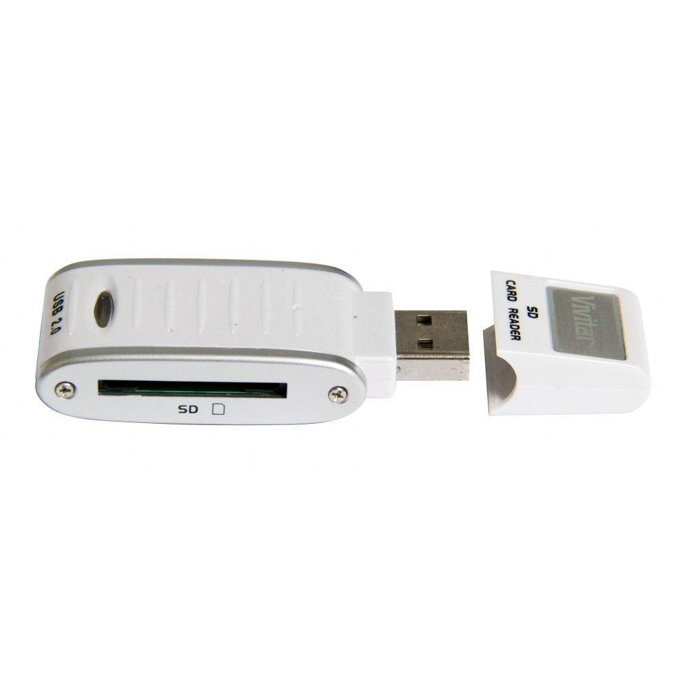Leitor E Gravador De Cartão De Memória SD e SDHC Vivitar Via USB Branco - VIVRW3000