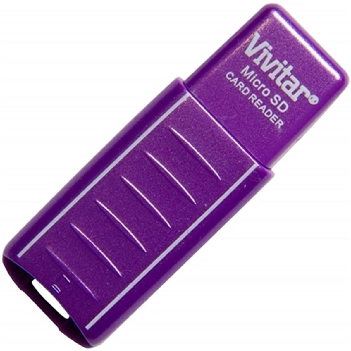 Leitor E Gravador De Cartão Micro SD Vivitar USB 2.0 Roxo - VIVRW1000