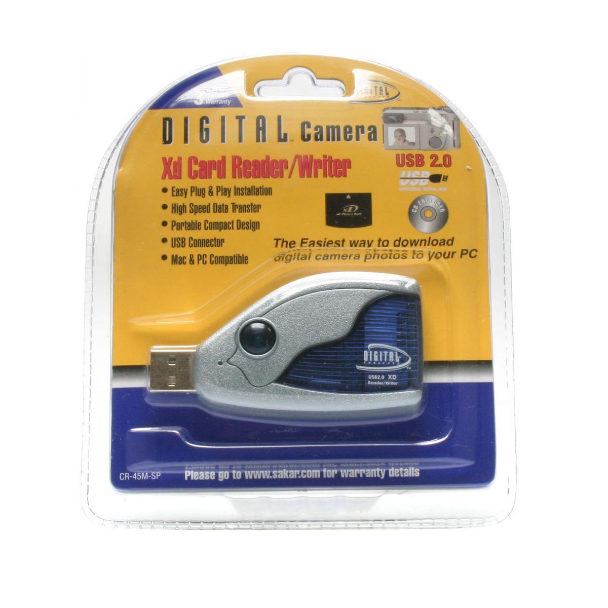 Leitor E Gravador De Cartão Xd D-Concepts Com Conexão USB 2.0 E Cabo De Extensão - CR45M